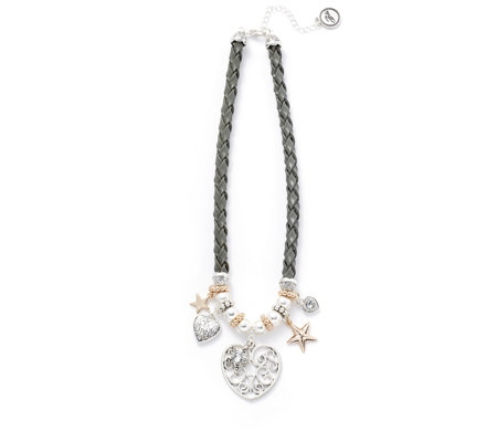 Bibi Bijoux Heart Charm Leather 44cm Necklace