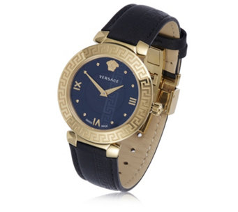 Versace Daphnis Butterfly Buckle Leather Strap Watch - 319992