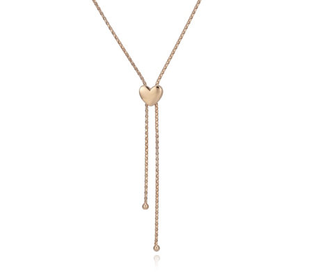 """As Is"" Bronzo Italia Popcorn Lariat Heart Slider Necklace"