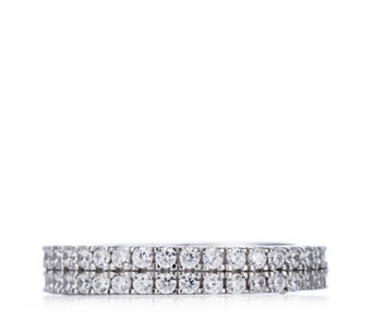 Diamonique 1.1ct tw Double Row Eternity Ring Sterling Silver - 308293