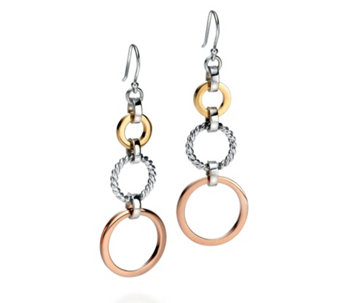 Fiorelli  Tri Colour Open Circles Drop Earrings Sterling Silver - 314693