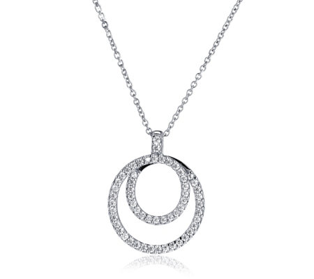 Diamonique 1ct tw double circle pendant 45cm chain sterling diamonique 1ct tw double circle pendant 45cm chain sterling silver aloadofball Image collections