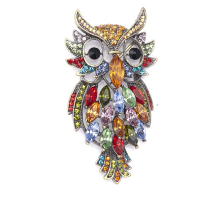Butler & Wilson Multi Coloured Owl Brooch