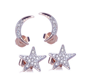 Lisa Snowdon To The Moon & Back Diamond Star & Moon Earrings Sterling Silver - 310094