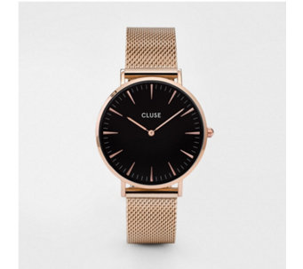 Cluse La Boheme Black Dial Minute Mesh Strap Watch - 317094