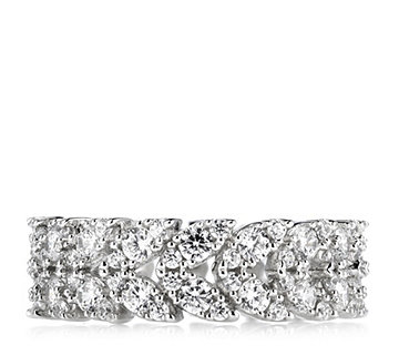 Diamonique 2ct tw Leaf Eternity Ring Sterling Silver - 321994