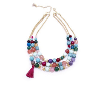 Lonna & Lilly Tropical Layered Bead 41cm Necklace - 309795