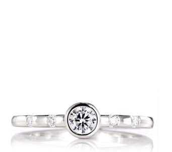 Diamonique 0.2ct tw Bezel Set Solitaire Stacking Ring Sterling Silver - 312895