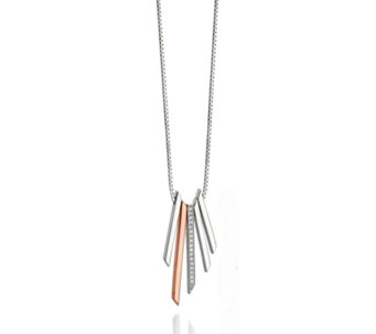 Fiorelli Silver Pave Bar 46cm Necklace Rose Gold Plated Sterling Silver - 314695