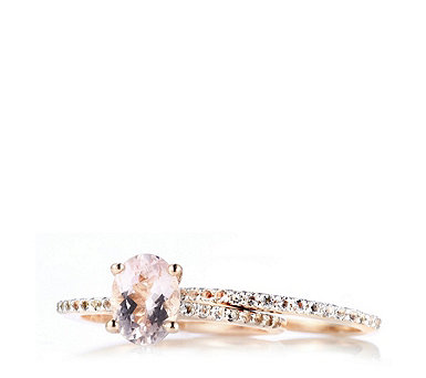 1ct Morganite Oval Ring Set Rose Gold Vermeil & Sterling Silver - 318995