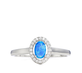 Diamonique 0.1ct tw Simulated Opal Halo Ring Sterling Silver - 308696