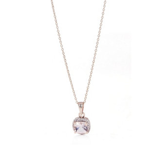 with necklace pendants halo cushion morganite diamond slide utz pendant