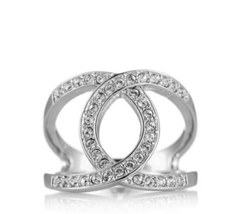 Aurora Swarovski Crystal Entwined Open Design Pave Set Ring 305997