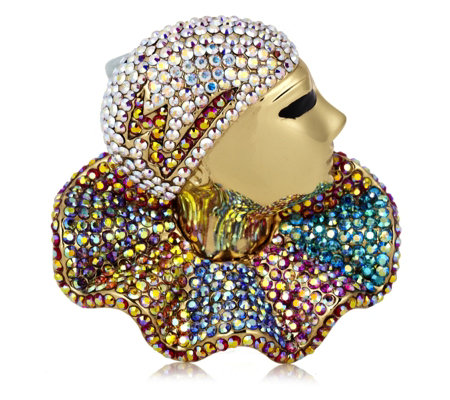 Butler & Wilson Pave Crystal Pierrot Face Brooch