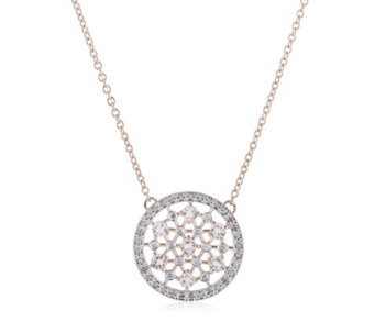 African Morganite 0.7ct & 0.25ct Diamond Pendant & 45cm Chain Rose Gold Vermeil - 306598