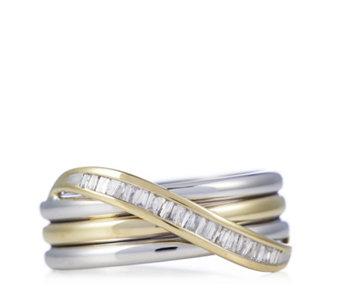 0.15ct Radiance Diamond Baguette Cut Wave Ring 9ct Gold - 310198