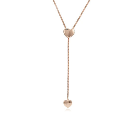 Bronzo Italia Adjustable Heart Slider Necklace