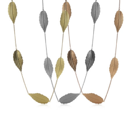 Frank Usher Set of 3 Tone Layering Leaf Necklaces