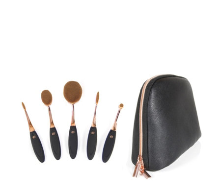 Rio 5 Piece Professional Microfibre Cosmetic Brush Collection & Bag