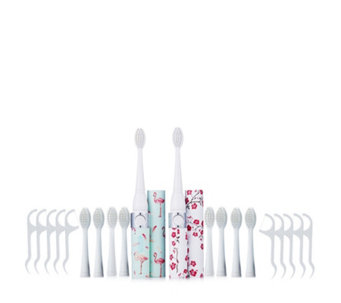 iActive Set of 2 Sonic Toothbrushes w 10 heads & 10 Dental Flossers - 401661