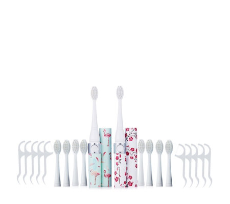 iActive Set of 2 Sonic Toothbrushes w 10 heads & 10 Dental Flossers