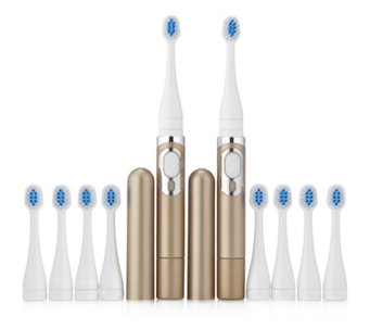 Sonic Chic Deluxe Rechargable Set of 2 Toothbrushes with 10 Heads - 401366