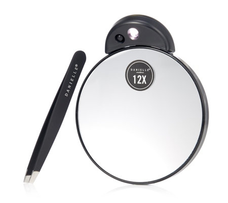 Danielle Creations Slanted Tweezer & LED Compact Mirror