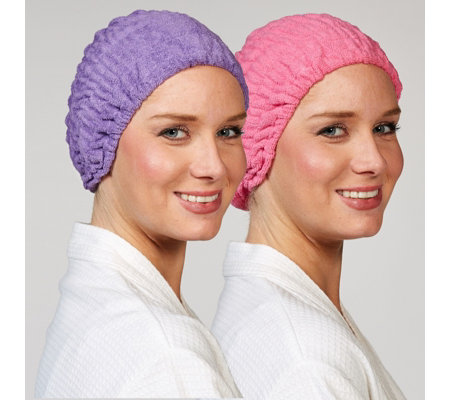 Turbie Twist Microfibre Headband Set of 2 Pink & Purple