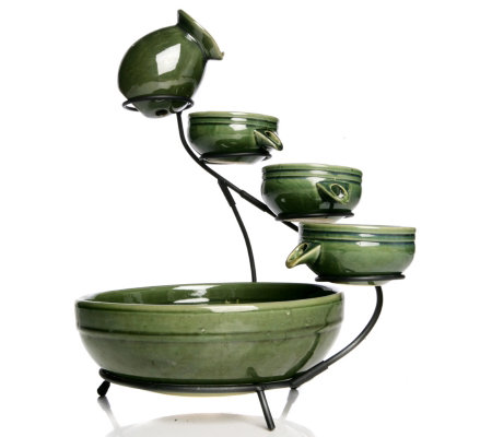Solar Powered 4 Tier Cascading Glazed Ceramic Water Fountain