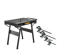 Stanley Fatmax Express Folding Workbench & 4 Trigger Clamps - 514707