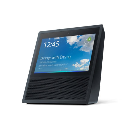 amazon echo show smart speaker with alexa qvc uk. Black Bedroom Furniture Sets. Home Design Ideas
