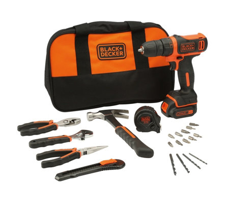 black and decker tools. black \u0026 decker 10.8v cordless drill driver with 20 hand tools accessories and