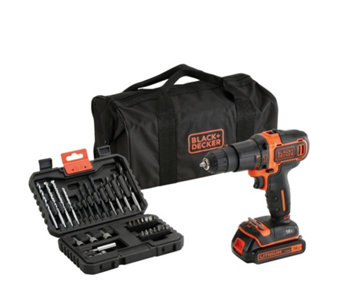 Black & Decker 18V Cordless Hammer Drill with Storage Bag & 32 Accessories - 512248