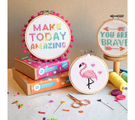 The Make Arcade Affirmations Set of Three Cross Stitch Kits