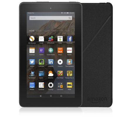 "Amazon Fire 7"" WiFi Tablet with 8GB Storage Case & 32GB Micro SD Card"