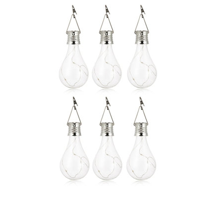 Luxform Pack of 6 Solar LED Glass Bulb Lights