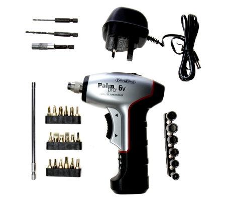 durapro palm pro 6v cordless screwdriver set with carry case qvc uk. Black Bedroom Furniture Sets. Home Design Ideas