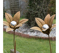 Home 2 Garden Set of 2 Contemporary Stainless Steel Flower Decorations - 513690