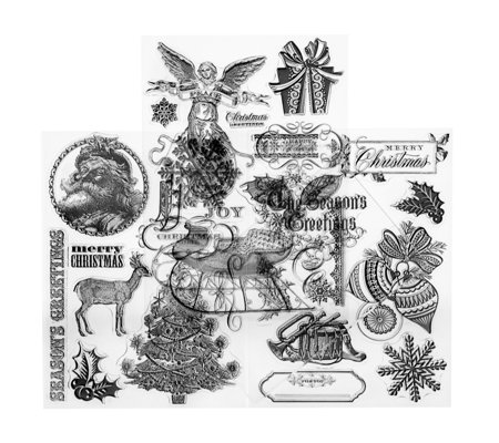 Anna Griffin 3 Sheets of Christmas Clear Stamps with Acrylic B