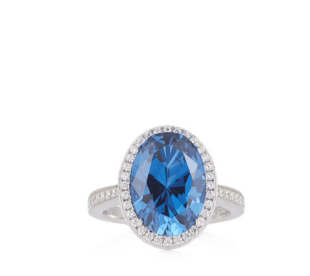 Diamonique 6.4ct tw Blue Moon Oval Halo Ring Sterling Silver