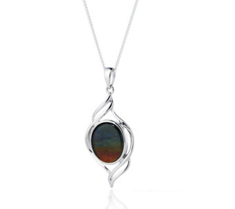Canadian Ammolite Triplet Oval Pendant & Chain Sterling Silver - 609306