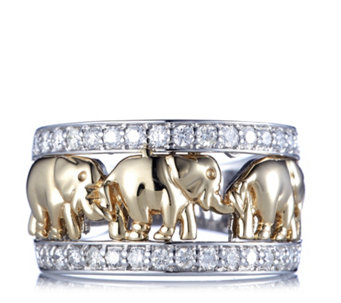 Diamonds by Tova 0.6ct Diamond Elephant Band Ring 14ct Gold - 664606