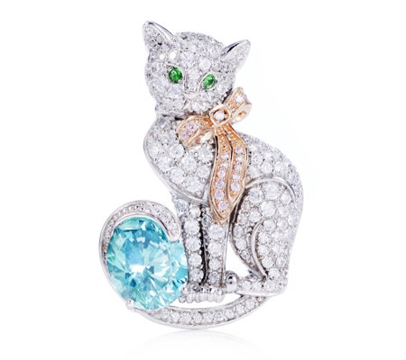 Diamonique 7.3ct tw Convertible Cat Brooch & Pendant Sterlling Silver