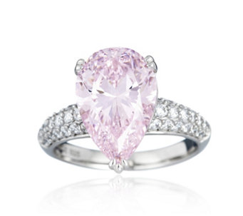 Diamonique 6.5ct tw Pear Cut Ring Sterling Silver - 664009