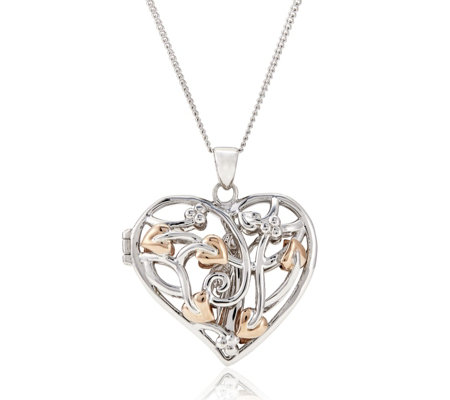Clogau 9ct Rose Gold & Sterling Silver Fairy Locket & 56cm Chain