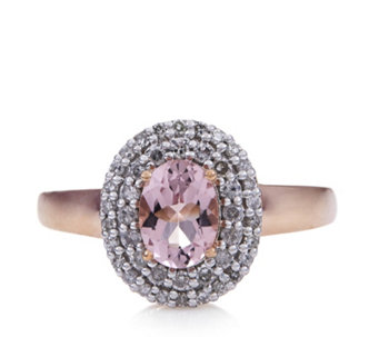 0.8ct Morganite Premier Oval Ring with Diamond Accent 9ct Rose Gold - 692312