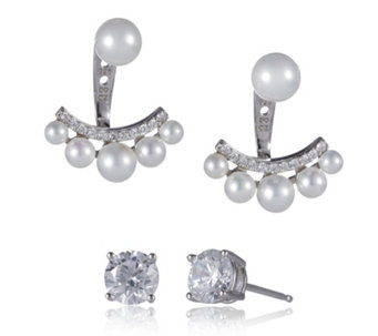 Diamonique 2ct tw Simulated Pearl Ear Jacket & Stud Set Sterling Silver - 664613