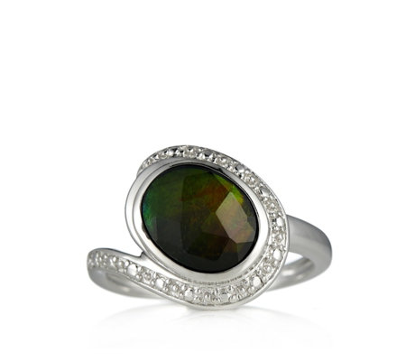 Canadian Ammolite Triplet Bezal Set Faceted Oval Ring Sterling Silver