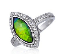 Canadian Ammolite Triplet White Sapphire Marquise Cut Ring Sterling Silver - 626317