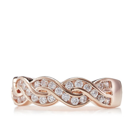Diamonique 0.3ct tw Twist Ring Rose Gold Plated Sterling Silver